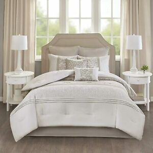 JLA Home 510 Design Ramsey Embroidered 7 Piece Comforter Set - KING - Neutral