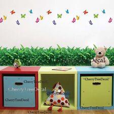 Simulation Green Grass Butterflies Wall Stickers Home Decor Art Decal Border UK