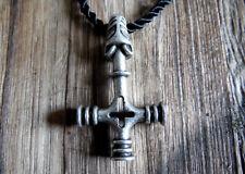 Wolfskreuz Anhänger mit Kette - Mjölnir Thor Hammer Vikings Wikinger Wolf Cross