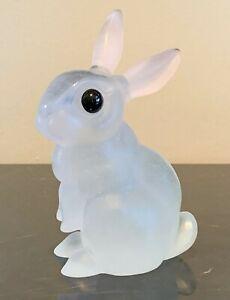Daum France Pate De Verre Crystal Rabbit / Bunny with Black Eyes