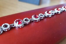 White gold finish red ruby and created diamond round tennis bracelet gift idea