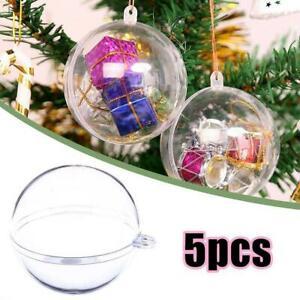 5Pcs Clear Ball Baubles Sphere Fillable Christmas Tree Ornaments Xmas Decor Good