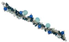 Chalcedony Stone & Beads Gemstone Sterling Silver Plated Women Bracelet Chain