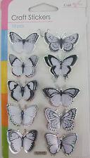 3d Negro Y Blanco Mariposa Stickers-embellishments-lots de usos 10 En Pack