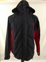Vintage Chaps Ralph Lauren Men's Hooded Full zip Jacket Coat Red Navy Blue Sz S