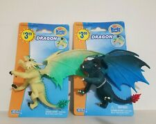 Lot of 2 Plastic Dragons Figure Toy Cake Topper Fantasy Mystical Decor Excite