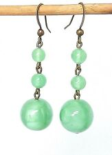 bead earrings to match 1930s necklaces Vintage Art Deco Czech green satin glass