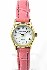 Philip Mercier Ladies Pink Quartz Watch with Faux Leather Strap, Easy to Read