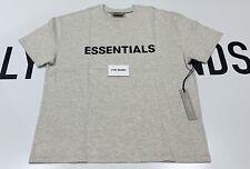 Essentials - Fear Of God Logo Print Oatmeal Grey Oversized T-Shirt - Size Medium