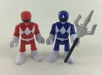 Imaginext Power Rangers Figures 3pc Lot Red Blue Ranger Weapon Fisher Price