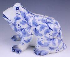 VTG Signed Andrea by Sadek Flow Blue White Porcelain Frog Piggy Bank Figurine