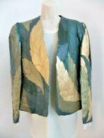 Deramode Beverly Center Calif Ladies Green Leather/Suede Leaf Blazer/Jacket EUC