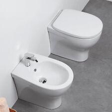 Sanitari Filo parete Ceramica Azzurra Pratica WC e BIDET con sedile SOFT CLOSE F