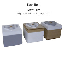 Set 3 Boxes Mini Storage Box Trinkets Jewellery Rings Earings Office Desk Decor