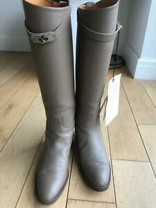 Auth Hermes etoupe leather jumping boots sz 40