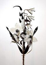 Grey Bells & Flowers Arrangement In Vase Delicate Decoration For Table Shelf