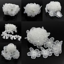 2yds Vintage Flower Pearl Lace Trim Wedding Bridal Dress Ribbon Applique Sewing