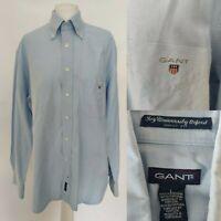GANT Men's Shirt Blue Long Sleeve Button Ivy University Oxford Dress Fit Size L