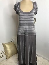Sangria Womens Long Dress Size 12 Gray Silver Metallic Short Sleeve NEW