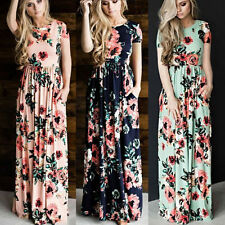 Women BOHO Floral Print Beach Dress Lady Evening Party Short Sleeve Maxi Dress