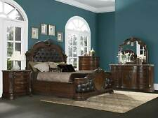 Traditional Brown & Marble Bedroom Furniture - 5pc Queen Leatherette Bed Set A5L