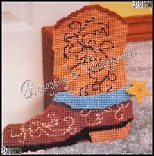 Bucilla COWBOY BOOT Door Stop Plastic Canvas Needlepoint Kit - 6041