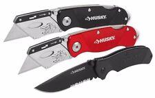 Husky 3-Piece Knife Set - Two Utility Knives and One Lockback Knife 1001830850