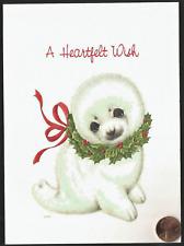 Morehead 1989 Adorable Seal Heartfelt Wish Wreath *Embossed* Christmas Card New
