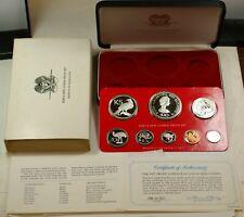 1977 Papua New Guinea - Official Proof Set w/ 2 Silver Crowns & Coa - 2 Oz Asw