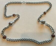 Vintage Chain Link Necklace Silver-Tone Amber-Glass & Large Ball Accents 36""