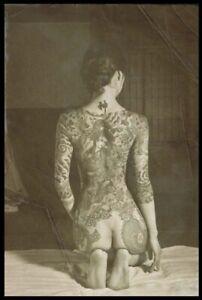 Risqe Pinup Girl Sexy vintage Antique Retro Japanese Yakuza Woman Photo 4x6 B