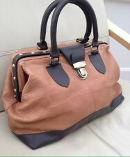 TOPSHOP Gladstone Bag Tan & Brown Very Soft Superior Leather Bag /  Doctors Bag