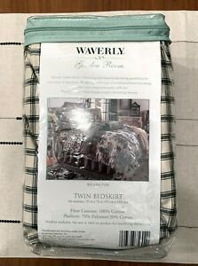 WAVERLY Garden Room WELLINGTON Bed Skirt Black / Ivory TWIN French Country ~ NEW