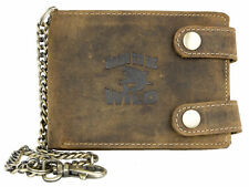 Biker's natural genuine leather wallet with shark and with metal chain to hang