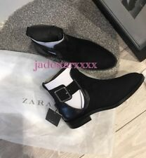 Zara Black Ankle Boots With Buckle 4 37 New Cut Out Shoes BNWT