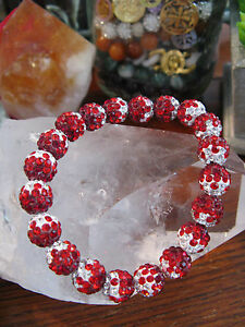 "New 8"" Rustic Red, Berry, White Crystal Ball 10mm Cuff Bracelet-Stocking Stuffer"