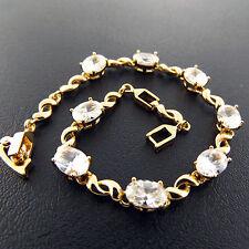G/F Gold Diamond Simulated Tennis Design Bracelet Cuff Bangle Genuine 18K Yellow