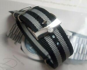 Fur ROLEX NATO james Bond Strap Armband 20 mm schwarz grau, Neu !