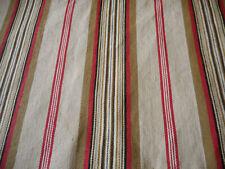 Antique Primitive Americana Red Brown Stripe Farmhouse Cabin Ticking Fabric ~