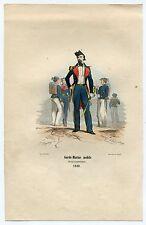 1848 Original Hand Colored Military Print Garde Marine Mobile Lieutenant