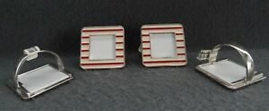 Crate & Barrel Striped Portrait Frame Napkin Rings Red White Christmas Holiday