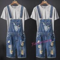 Mens Denim Distressed Slim Fit Overalls Short Pants Baggy Jumpsuits Jeans S-5XL