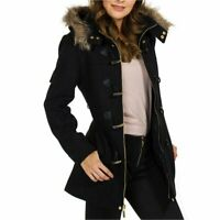Alpine Swiss Duffy Womens Black Wool Coat Fur Trim Hooded, Black, Size X-Large w
