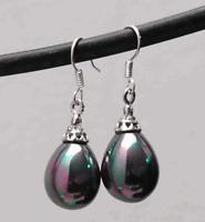 12X16MM Black South Sea Shell Pearl Drop Dangle Silver Hook Crown Earrings AAA+