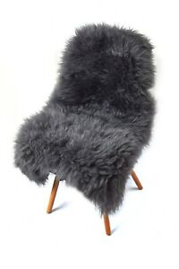 Natural Sheepskin Rug GREY Fur Bed Cover Fluffy and Soft SHAGGY 100% GENUINE