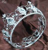 "King Queen Crown 3.5"" Full Large Tiara Clear Crystal Wedding Pageant Party Prom"