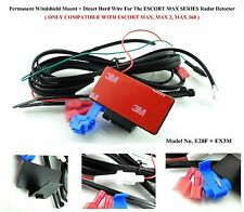 1 Permanent Windshield Mount+Direct Hard Wire For The ESCORT MAX Radar Detector