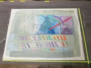 Calman Shemi 8ftx5ft Tapestry,  Notebook Drawing #3, modern art textile, Signed