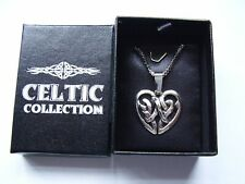 Celtic Collection filigree Celtic knot heart pendant 16 inch chain necklace