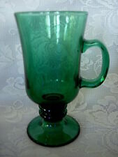 Collectible LIBBEY'S Teal / Dark Green Pressed Glass Footed Mug - MORE AVAILABLE